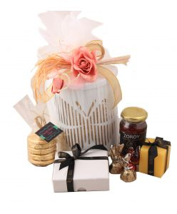 Lantern Hamper with chocolates, candles, honey and cookies
