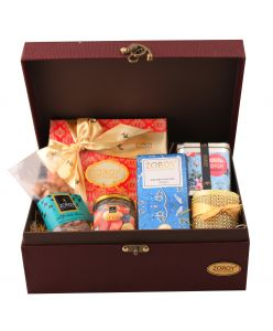 Chest Sandook Hamper of cookies, chocolates and candle