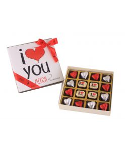 Personalised Valentines Gift Box of I love you Milk and white chocolates