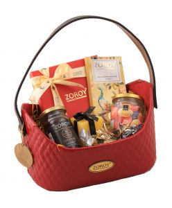 Valentine Red Colour of Love Hamper Basket of assorted goodies
