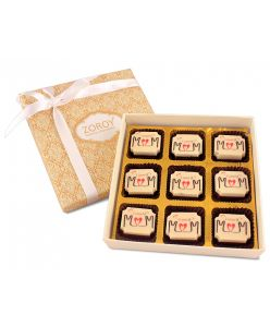 Mothers Day day Gift box of 9 I love you mom milk and white chocolate