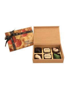 Christmas special wood box of 6 chocolates