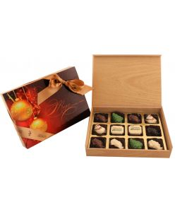 Christmas special wood box of 12 chocolates