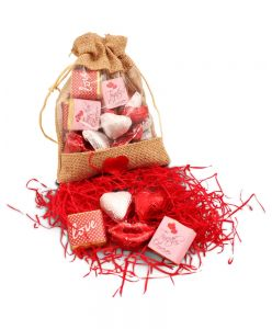 Mini Jute pouch with Valentines day chocolates