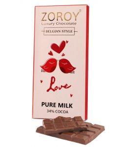 Pure Belgian Couverture Milk Chocolate bar with Love bird Theme - 100gms