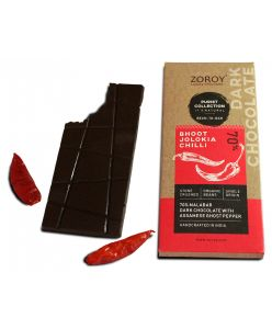 ZOROY Bean to Bar Purist Collection,Chilli 70% Organic Dark Chocolate with Bhoot Jhalokia Chilli bar, Pack of 2, 58gms Each - 116Gms