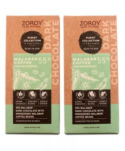 ZOROY Bean to Bar Purist Collection, Monsooned Malabar Coffee, 55% Organic Dark Chocolate bar, Pack of 2, 58gms Each - 116Gms