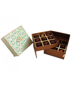 Lotus Themed Double Decker Gift box - 18 assorted chocolates