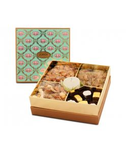 Lotus Themed Diwali square combo box of chocolates, dry fruits and candle
