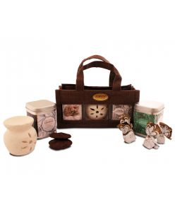 The eco friendlly hamper bag with cerammic diffuser, assorted choclates and cookies