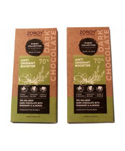 ZOROY Purist Collection, Set of 2 70% Organic Dark chocolate, Anti Oxidant Booster bar with Almonds and Rosemary - 116gms