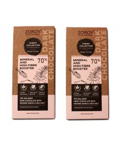 ZOROY Purist Collection, Set of 2 70% Organic Dark chocolate, Mineral and high fibre booster bar with Seasame seeds and Natural sea salt - 116gms