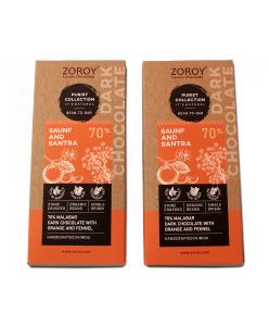 ZOROY Purist Collection, Set of 2 70% Organic Dark chocolate, with Saunf and Santra - 116gms