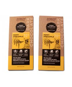 ZOROY  Purist Collection, Set of 2 70% Organic Dark chocolate, with Pineapple and pepper - 116gms