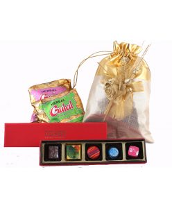 Gold Holi Bag - with  Herbal gulal 5 colourful chocolates