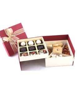 Diwali Double Decker Box with Signature 9 chocolates, candle and assorted dry fruits