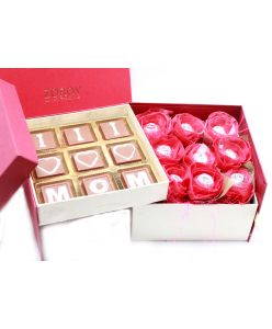"""Double Decker Box with Milk Chocolate Bouquet and """"I Love  MOM"""" chocolates."""