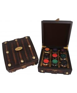 Wooden Tijori Sampler Box of Belgian chocolates, jam, dry fruits and coated nuts