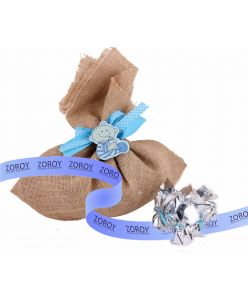 Jute bag with blue motifs 10 chocolates
