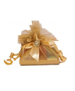 Mini Gold Netted Hamper with chocolates, dry fruits and candle