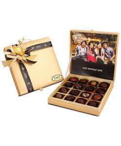 Personalized Gold leather feel box with assorted chocolates