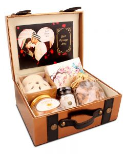 Personalized Leatherette Suitcase Hamper of assorted goodies