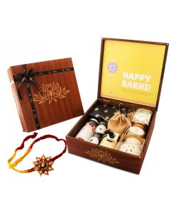 ZOROY Rakhi Message Wooden box Hamper of chocolates, dry fruits and assorted goodies