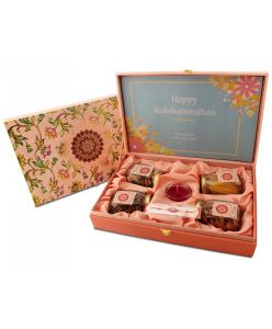 ZOROY Rakhi Message Wooden Floral Box of dry fruits and chocolates