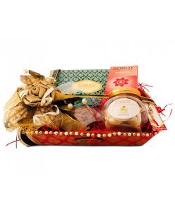 ZOROY Ethnic Rakhi Brocade tray of chocolates and dry fruit
