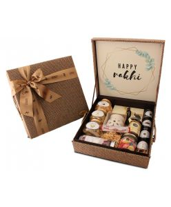ZOROY Rakhi special Jute hamper box filled with chocolates and other goodies