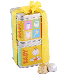 Set of 2 Baby theme tins with chocolate and cookies