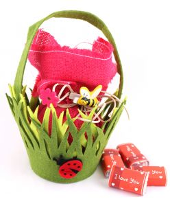 Valentines Garden of love Basket with 20 milk chocolates saying I Love You