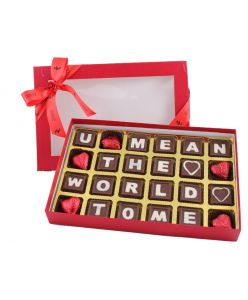 """Valentines Message Box saying """" U Mean the World to Me"""""""