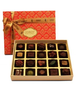 ZOROY LUXURY CHOCOLATE Box of 20 Pure Couverture Dark Chocolate  Signature Belgian style   Pure cocoa Butter Chocolates   20 pieces in a box   Assortment of Dark pralines