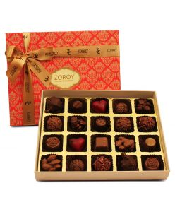ZOROY LUXURY CHOCOLATE Box of 20 Pure Couverture Nut Chocolate |Signature Belgian style | Pure cocoa Butter Chocolates | 20 pieces in a box | Assortment of Milk and Dark pralines
