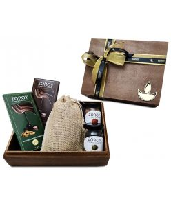 ZOROY Burnt wood box hamper with chocolates, dry fruits and assorted goodies