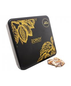 ZOROY Almond Buttercrunch Tin (crisp caramalised centre coated with dark chocolates & almonds) - 150 gms