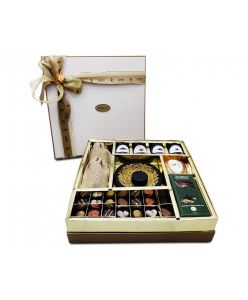 ZOROY The Elegance Hamper box of chocolates, dried fruits, assorted goody jars and t light candle holder