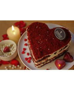 ZOROY Eggless Red Velvet Cheesecake Heart Shaped Cake - Half Kg - Delivery In Bengaluru Only