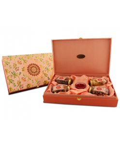 ZOROY Wooden floral box of dryfruits and chocolates - 425 gms