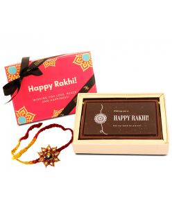 ZOROY Luxury Chocolate Happy Rakhi eternal Bond Roasted almond chocolate bar along with a Rakhi