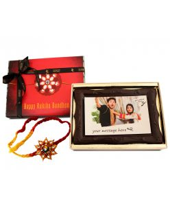 ZOROY Happy Rakhi Photo frame chocolate with edible photograph