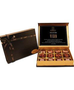 ZOROY LUXURY CHOCOLATE Box of 12 Pure Couverture Chocolate | Vegan | Signature Belgian style | Pure cocoa Butter | Assortment of  hazelnuts, peanuts and 73% Dark |  12 pieces in a classic black box |