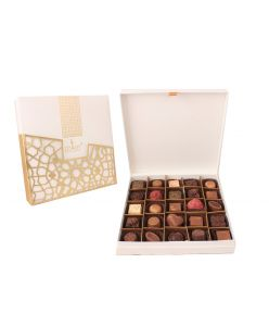 ZOROY LUXURY CHOCOLATE Box of 25 Pure Couverture Chocolate |Signature Belgian style | Pure cocoa Butter Chocolates | 25 pieces in a leather finish gift box | Assortment of milk dark white pralines