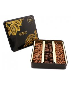 ZOROY Assorted Chocolate Coated Panned Nuts (Almond, Raisins, Butterscotch) Tin - 225 gms