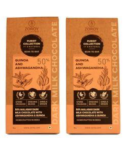 ZOROY Purist Collection, 50% Malabar Dark Milk chocolate with Ashwagandha and Quinoa - The Energy Booster - Set of 2