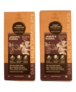 ZOROY Purist Collection, 50% Malabar Dark Milk chocolate with Dried Jamun and Pudina - The Health Booster- Set of 2