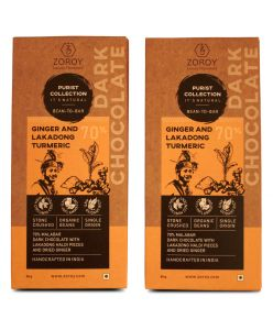 ZOROY Purist Collection, 70% Dark chocolate with Lakadong Haldi and dried Ginger - The Immune Booster - Set of 2