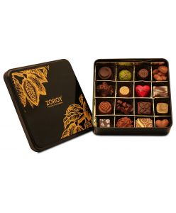 ZOROY LUXURY CHOCOLATE Box of 16 Pure Couverture Chocolate | Signature Belgian style | Pure cocoa Butter Chocolates | 16 pieces in a Tin box | Assortment of milk dark white pralines
