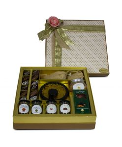 ZOROY The Elegance Hamper box of chocolates, dates, assorted goody jars and t light candle holder